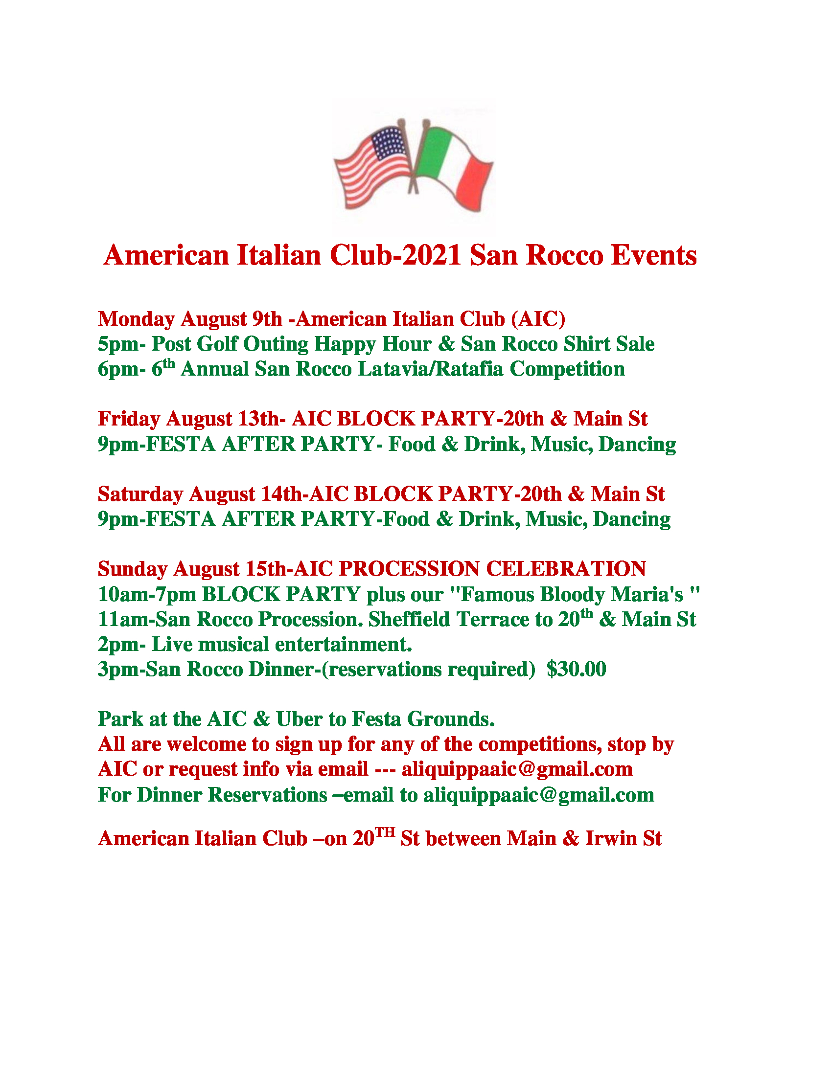 San Rocco Events at The American Italian Club